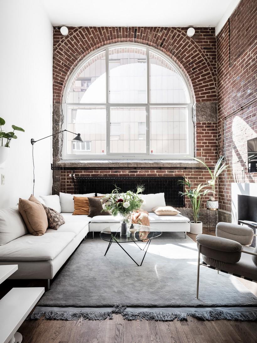 Scandinavian interior living roombrick wall
